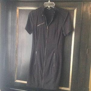 AX Armani Exchange Moto Dress zipper pockets sz 4